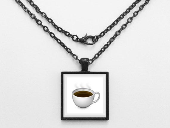Coffee Mug Emoji Necklace or Keychain