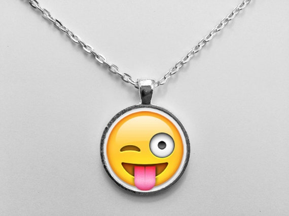 Tongue Sticking Out Emoji Necklace or Keychain