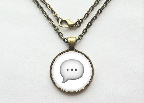 Speech Bubble Emoji Necklace or Keychain