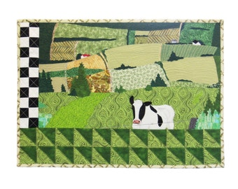 "Art quilt The 3rd Road - Quilt - Wall hanging - 28"" x 15"" - textile art - unique - art  piece of art cow  field green landscape countryside"