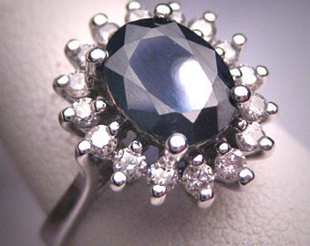 Antique Royal Sapphire Diamond Wedding Ring Vintage Deco Engagement 1950