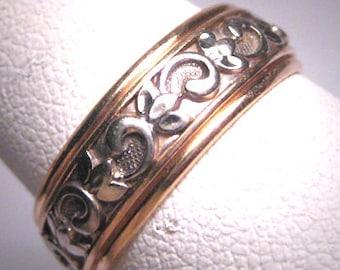 Rare Antique Wedding Band Ring Vintage Eternity Art Deco 20s Floral 7 14K Gold