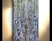 ORIGINAL Tree Painting Vertical Hand painted Oil Painting Aspen yellows greens Browns Metallic pewter Silver Artwork Fine art canvas by OTO