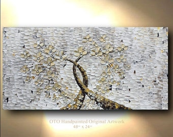Heart Artwork Gold Abstract Tree Painting gold flower Flower Abstract Original Paintings Heart Canvas Art Oil Painting Wall Decor gift  OTO
