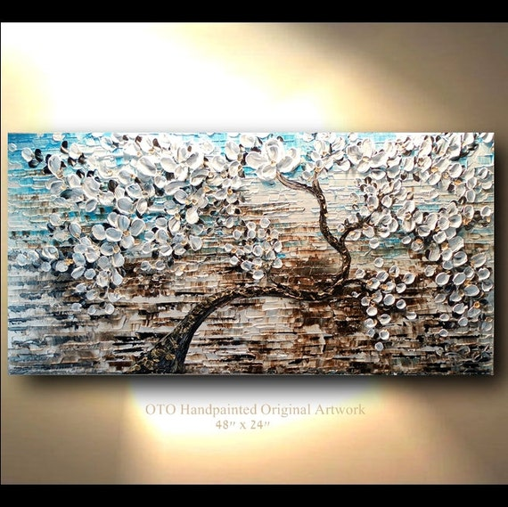 White Gold Brown Blue Flower Abstract Tree painting Art Canvas oil Wall Decor Artwork Impasto Textured art by OTO