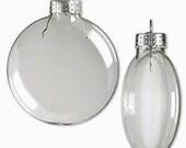 Christmas Ornaments - FOUR Clear Glass DISC Ornaments 3 Inches - Christmas Tree Ornaments - Glass Balls