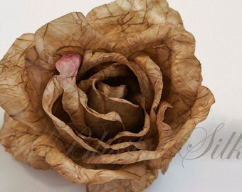 Artificial Flower - One Jumbo Fully Antique Brown Rose - 4.5 Inches - Silk Flowers