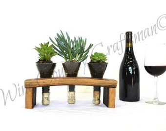 "TERRARIUM - ""Spurium"" - Wine Barrel and Bottle Terrarium  - 100% recycled"