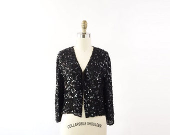 VINTAGE Black Sequin Blouse