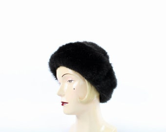 VINTAGE Faux Fur Hat Dark Brown Plush