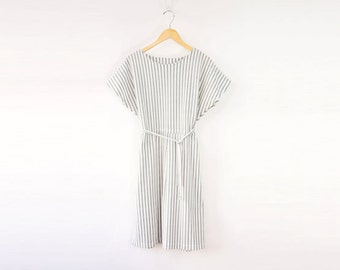 VINTAGE Black White Striped Dress Large
