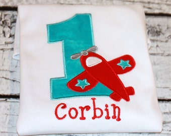 Boy's Airplane Birthday Shirt,  Ages 1-9 available
