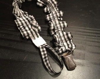 black and white gingham ruffled pacifier clip