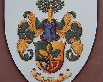 Family Crest Plaque - Large Custom Coat of Arms Painting on 30 x 36 Wooden Plaque