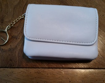Vintage Change Purse Flap Snap Closure White Leather Key Chain