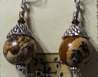 Large natural jasper spheres with pewter bead cap, brown Swarovski crystal, and sterling ear wires