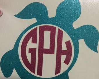 Personalized Monogrammed Turtle Decal