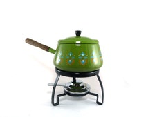 Vintage wood handled green enameled fondue pot set