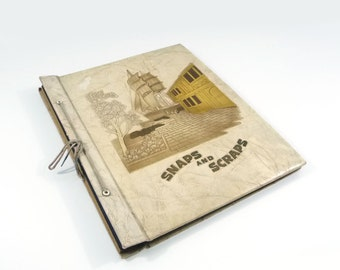 Snaps and Scraps vintage scrapbook, Tall ship, Paper pages, Ephemera