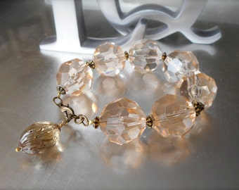 Vintage Chunky Lucite Bracelet, Faceted Peachy Amber Crystal Lucite Nuggets, High Fashion, Antiqued Brass, Collectables, One of a kind.