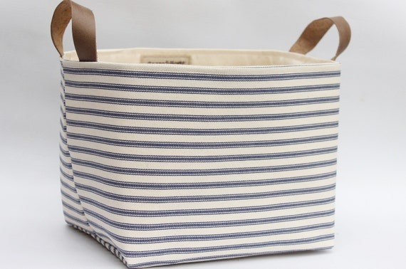 Beautiful Ticking Striped Cotton U Canvas Storage Basket Leather Handles  Eco Friendly Storage Uk With Canvas Storage Bins.