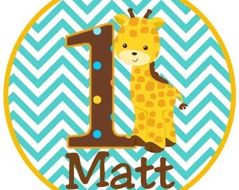 Sweet Giraffe and Chevron with Dots Happy Birthday Iron On