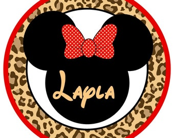 Minnie mouse leopard safari iron on