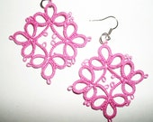 Handmade tatted earrings made of  pink cotton thread