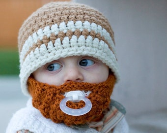 SALE!! Infant ULTIMATE Warm Brown 2-Stripe Bearded Beanie