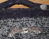 Owl in flight handmade handbag moon fields barn owl  totally unique ooak evening bag
