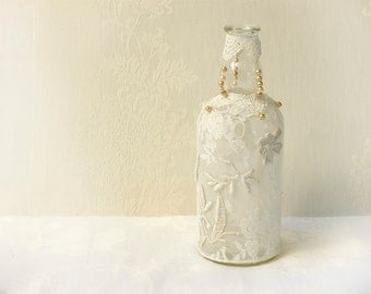 Shabby Chic  decor, Lace Decor, Upcycled Recycled Repurposed, Vintage  Eco Friendly Decor, Crochet Handmade, Centerpiece Table, Glass Bottle