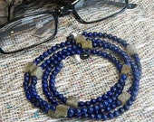 "Blue lapis gray labradorite eyeglass holder 33""  long labradorite cubes eyeglass chain semiprecious stone jewelry in a gift bag 1391"