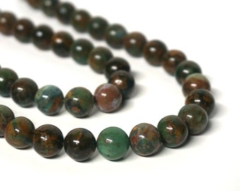 """Green """"Opal"""" Chalcedony Beads, 10mm round gemstone bead, Full & half strands available (1092S)"""