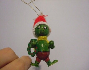 Vintage Little Green Elf Guy Wooden Toy Ornament