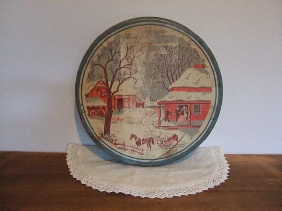 Rural Winter Farmhouse Vintage Tin