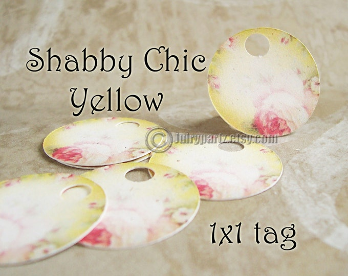 42•SHABBY Yellow•1x1•Gift Tags•Favor Tags•Price Tags•Thank You Tags•Necklace Tags•Bracelet Tags