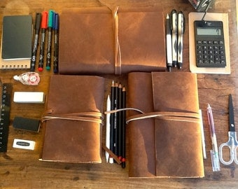 Thompson journal, handmade leather journal, brown leather notebook, handmade journals, diaries & notebooks made in any size by Aixa Sobin