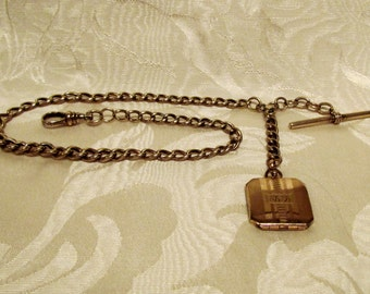 1890's 14kt Solid Gold Pocket Watch Chain With Photo Locket Fob Victorian EXCELLENT CONDITION