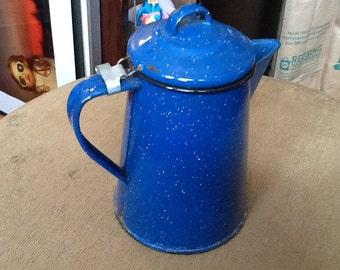 Vintage Blue Enamel Coffee Put Metal Coffee Pot White Flecks