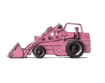 Pink Toy Tractor with Guy on white, One Photo Print, girls Room decor, Construction Vehicle, girls Nursery Ideas
