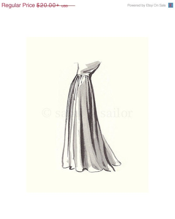 FLASH SALE Vintage Fashion Sketch Dress 4, Girls Room decor, nursery decor, neutral tones, grey, cream, girls room prints