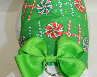 Ho Ho Ho Spreading Cheer!! Green Christmas Holiday Candy Cane Theme Harness with Lace & Bow. Custom made for your Cat, Dog or Ferret.