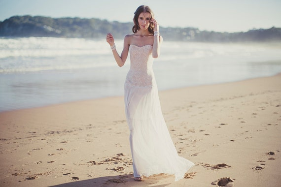 French Lace Wedding Gown: Bohemian Strapless French Lace Wedding Gown Bardot Gown