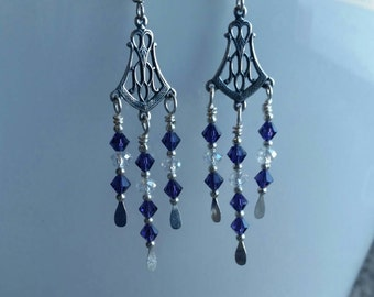 Purple Sterling Silver Plated Swarovski Crystal Earrings