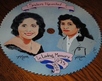 "Hand Painted Saw Portrait size 7.25"" saw blade - sold"