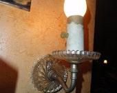 glass wall light, Art Deco wall sconce light, pressed glass, cut glass,  wall sconce,