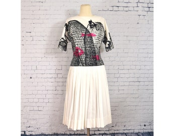 Vintage 1960's B.H. Wragge Skirt Set, Two Piece White Outfit w/ Graphic Mid Century Black & Pink Fish Print