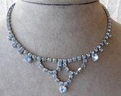 Vintage Pale Blue Rhinestone Choker Necklace