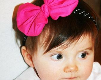 Hot Pink baby  Headband, Baby Headband ,Minnie Mouse Headband, Pink Black Headband, Girls  headband, Headband, Infant  Headband.