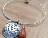 Positive  Vibes Lotus Yoga & Meditation Energy Charm Bracelet